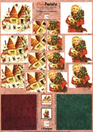 Childhood Christmas Die Cut Duo Twists Pyramid 3d Decoupage Sheet